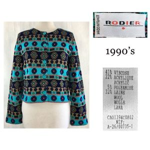 RODIER FRANCE Intarsia Knit Tapestry Button Jacket